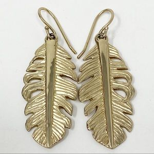 Melinda Maria Gold Tone Leaf Earrings